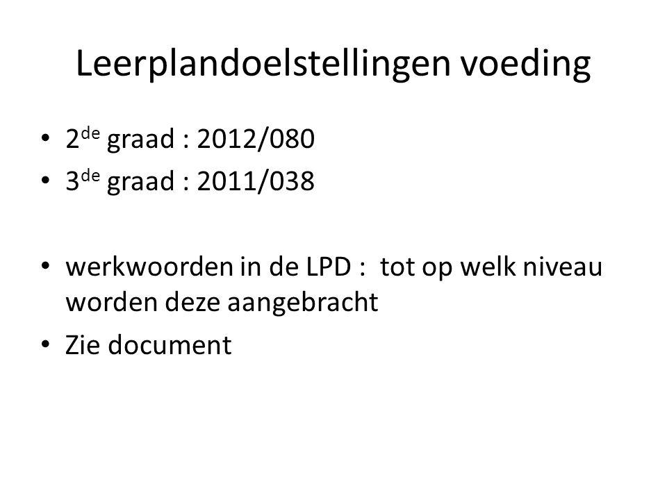 Leerplandoelstellingen voeding 2 de graad : 2012/080 3 de graad : 2011/038 werkwoorden in de LPD : tot op welk niveau worden deze aangebracht Zie docu