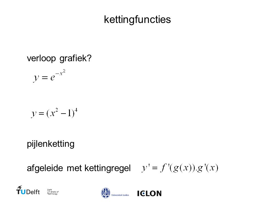 Delft University of Technology kettingfuncties verloop grafiek.