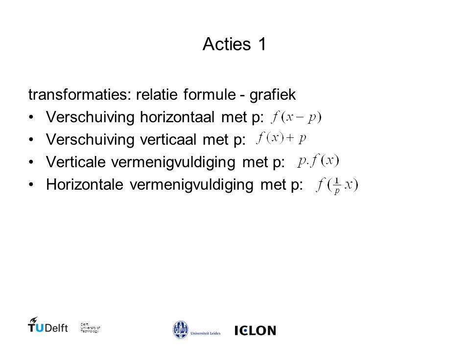 Delft University of Technology Acties 1 transformaties: relatie formule - grafiek Verschuiving horizontaal met p: Verschuiving verticaal met p: Verticale vermenigvuldiging met p: Horizontale vermenigvuldiging met p: