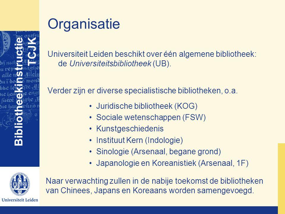 Organisatie Universiteit Leiden beschikt over één algemene bibliotheek: de Universiteitsbibliotheek (UB). Verder zijn er diverse specialistische bibli