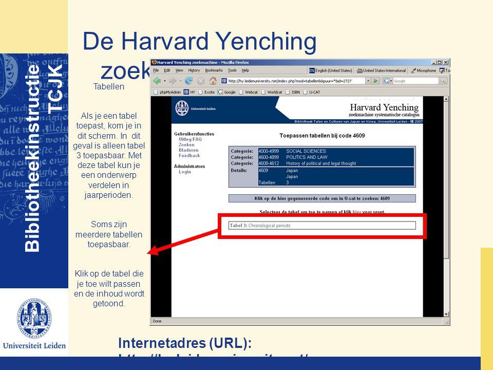 De Harvard Yenching zoekmachine Bibliotheekinstructie TCJK Internetadres (URL): http://hy.leidenuniversity.net/ Tabellen Als je een tabel toepast, kom