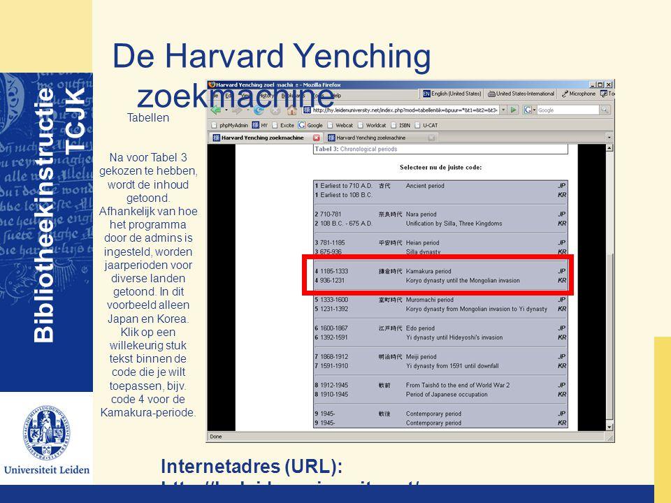 De Harvard Yenching zoekmachine Bibliotheekinstructie TCJK Internetadres (URL): http://hy.leidenuniversity.net/ Tabellen Na voor Tabel 3 gekozen te he
