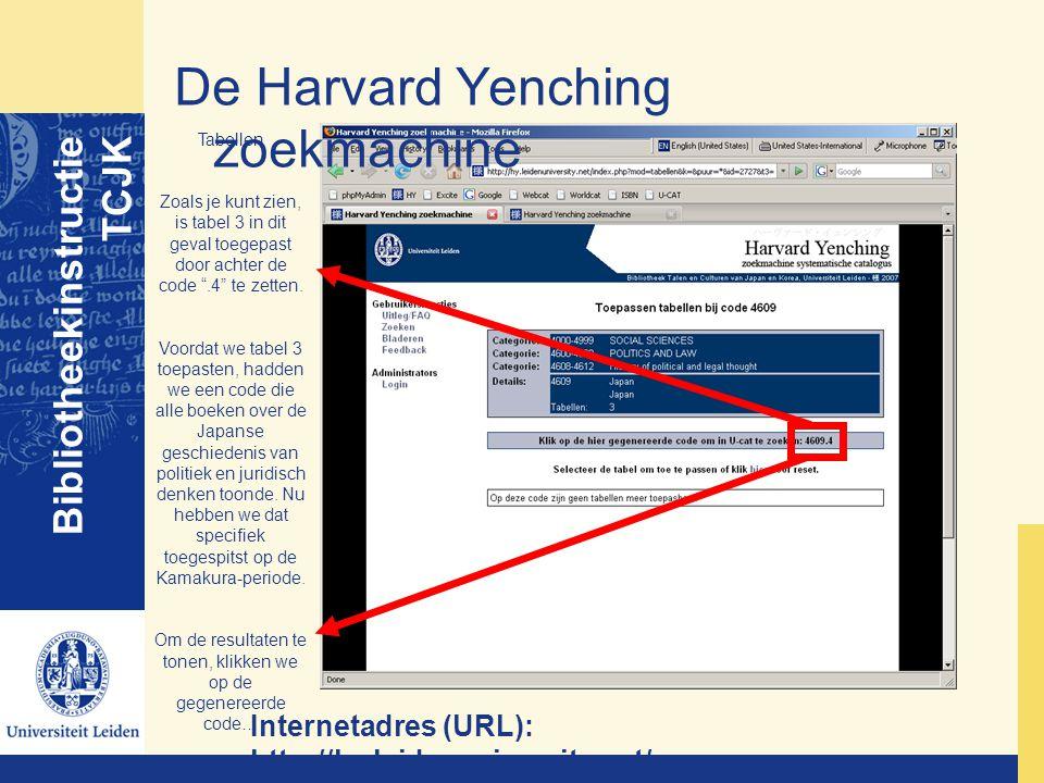 De Harvard Yenching zoekmachine Bibliotheekinstructie TCJK Internetadres (URL): http://hy.leidenuniversity.net/ Tabellen Zoals je kunt zien, is tabel