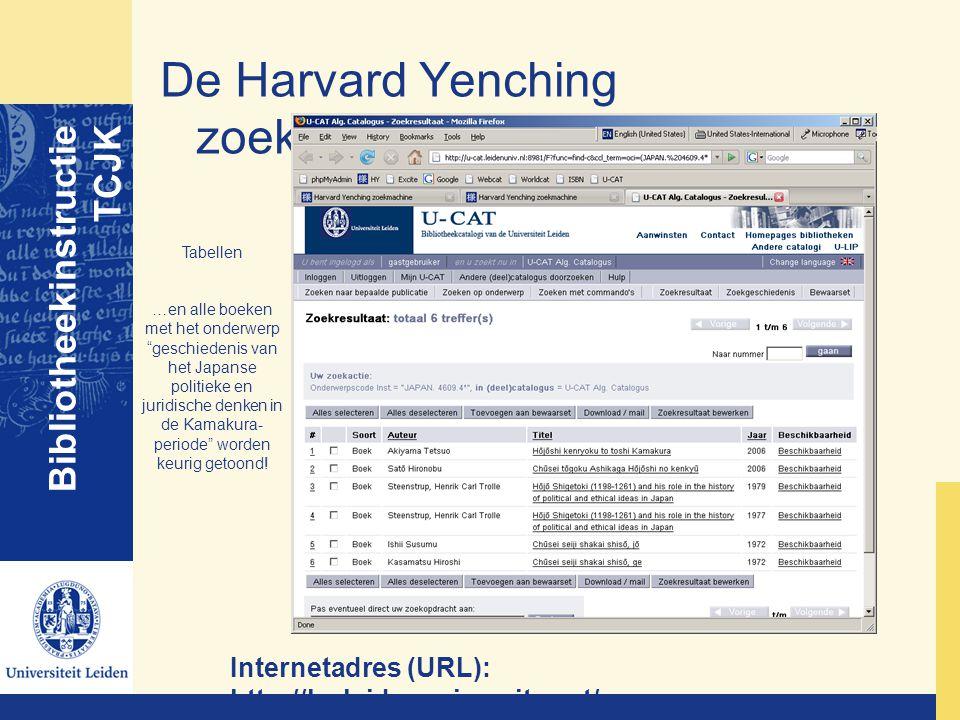 De Harvard Yenching zoekmachine Bibliotheekinstructie TCJK Internetadres (URL): http://hy.leidenuniversity.net/ Tabellen …en alle boeken met het onder
