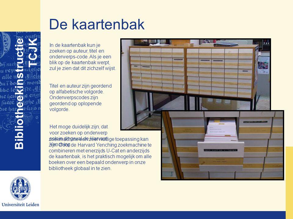 De kaartenbak Bibliotheekinstructie TCJK In de kaartenbak kun je zoeken op auteur, titel en onderwerps-code. Als je een blik op de kaartenbak werpt, z