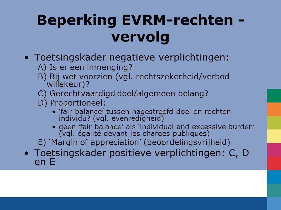 Beperking EVRM-rechten - vervolg Toetsingskader negatieve verplichtingen: A) Is er een inmenging? B) Bij wet voorzien (vgl. rechtszekerheid/verbod wil