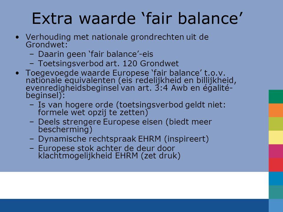 Extra waarde 'fair balance' Verhouding met nationale grondrechten uit de Grondwet: –Daarin geen 'fair balance'-eis –Toetsingsverbod art. 120 Grondwet