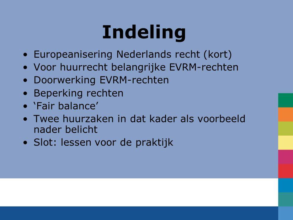 Indeling Europeanisering Nederlands recht (kort) Voor huurrecht belangrijke EVRM-rechten Doorwerking EVRM-rechten Beperking rechten 'Fair balance' Twee huurzaken in dat kader als voorbeeld nader belicht Slot: lessen voor de praktijk