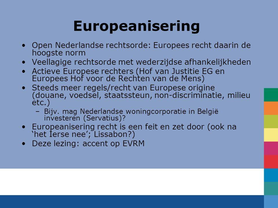 Europeanisering Open Nederlandse rechtsorde: Europees recht daarin de hoogste norm Veellagige rechtsorde met wederzijdse afhankelijkheden Actieve Euro