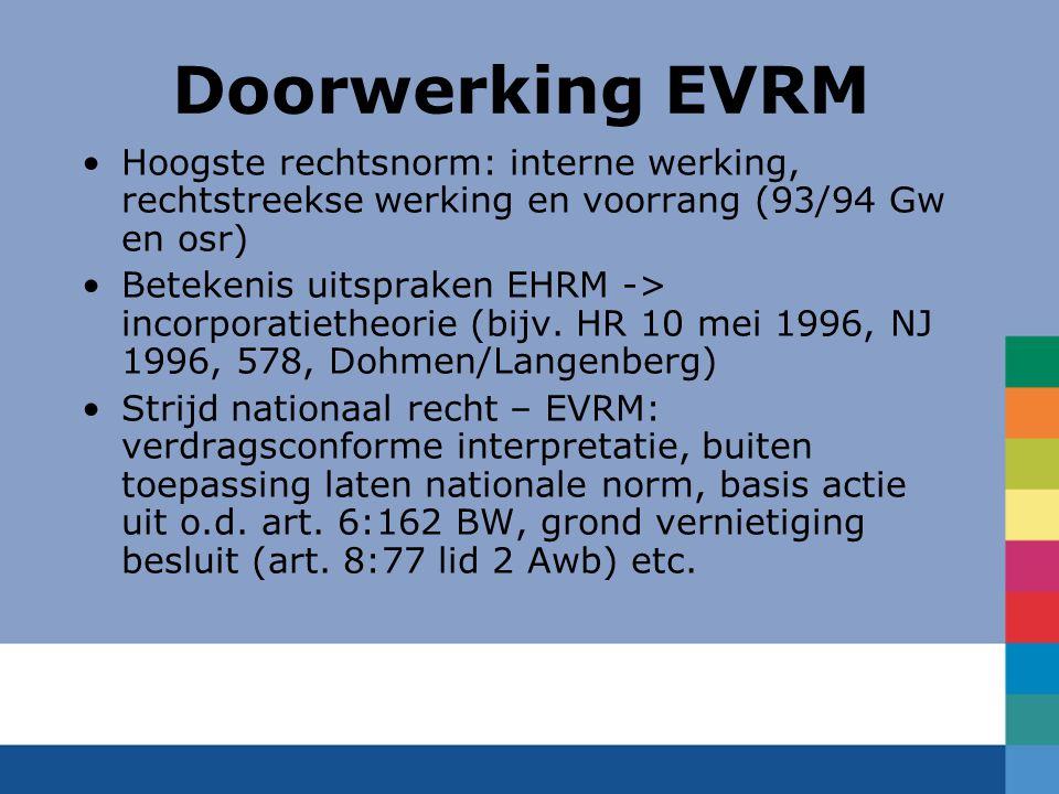 Doorwerking EVRM Hoogste rechtsnorm: interne werking, rechtstreekse werking en voorrang (93/94 Gw en osr) Betekenis uitspraken EHRM -> incorporatietheorie (bijv.