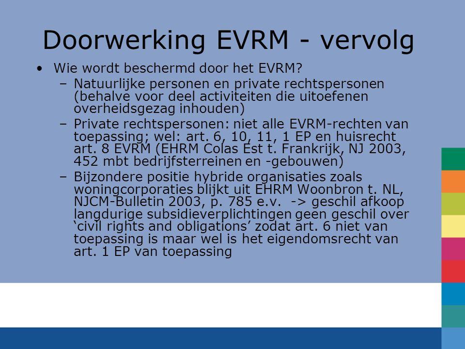 Doorwerking EVRM - vervolg Wie wordt beschermd door het EVRM? –Natuurlijke personen en private rechtspersonen (behalve voor deel activiteiten die uito