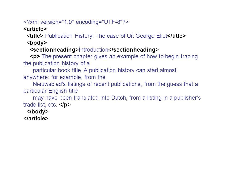 ARTICLE TITLE CAPTION SECTIONHEADING P Document Type Definition (DTD) BODY
