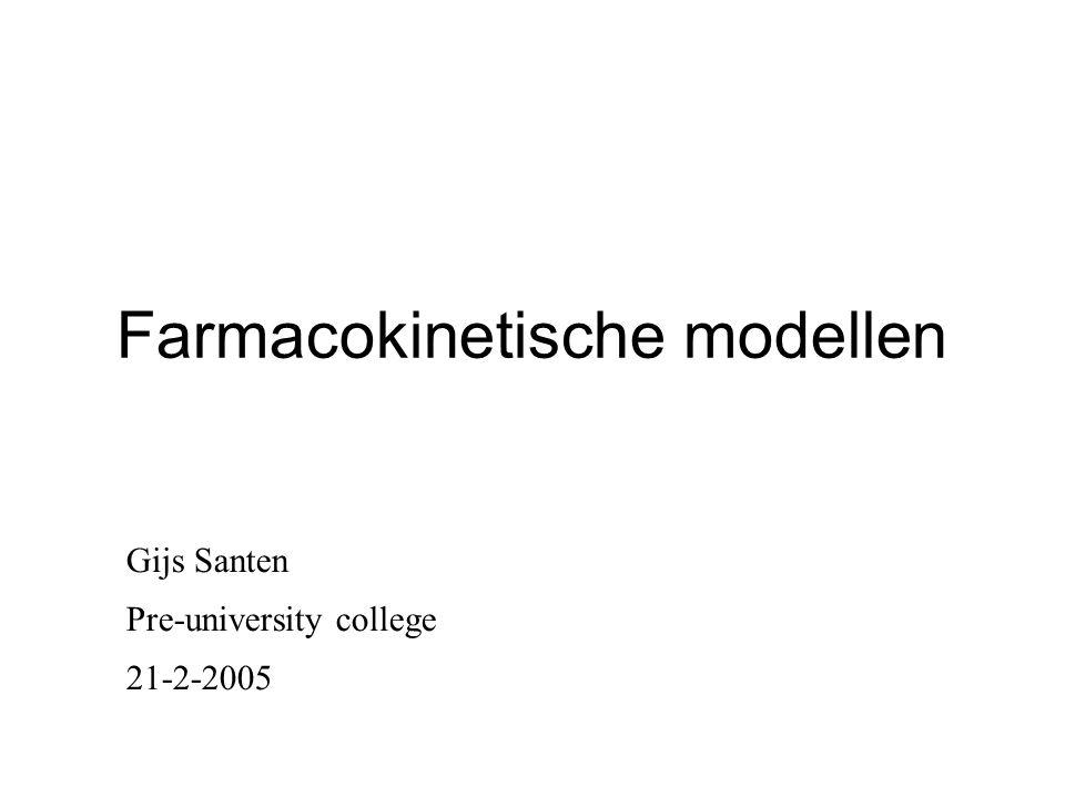 Farmacokinetische modellen Gijs Santen Pre-university college 21-2-2005
