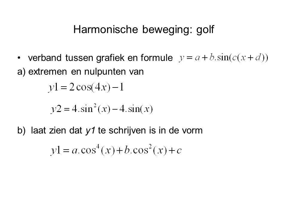 Harmonische beweging: golf verband tussen grafiek en formule a) extremen en nulpunten van b) laat zien dat y1 te schrijven is in de vorm