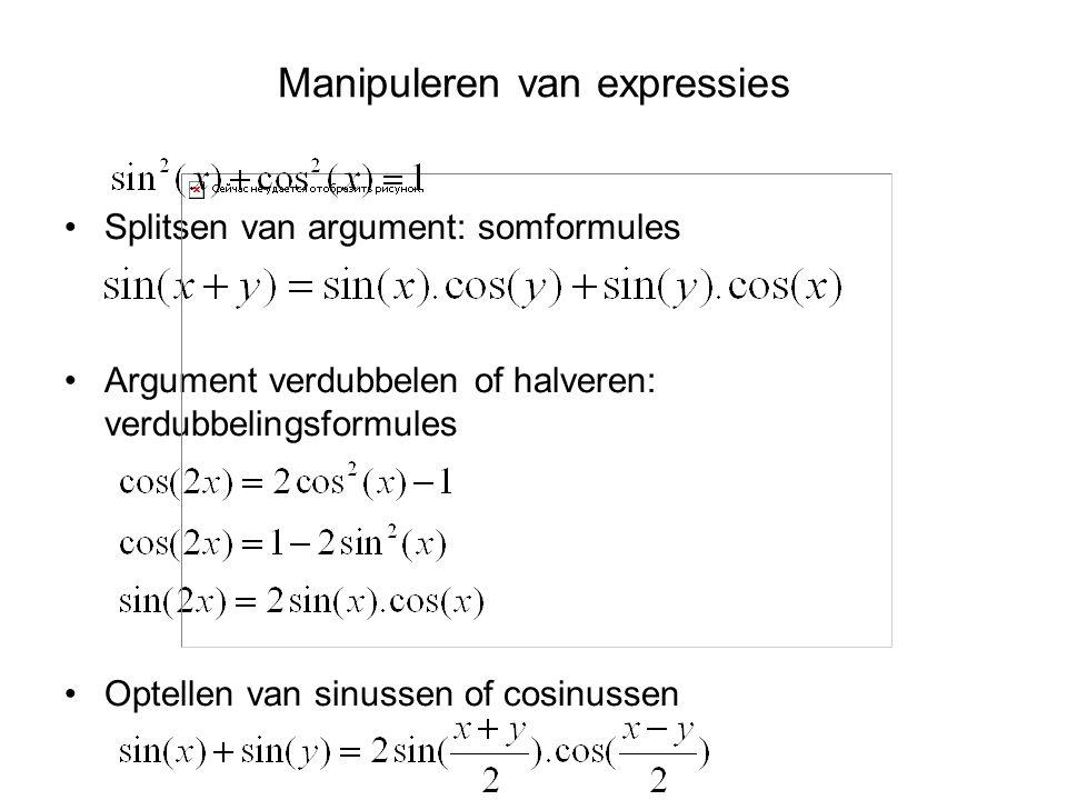 Manipuleren van expressies Splitsen van argument: somformules Argument verdubbelen of halveren: verdubbelingsformules Optellen van sinussen of cosinus