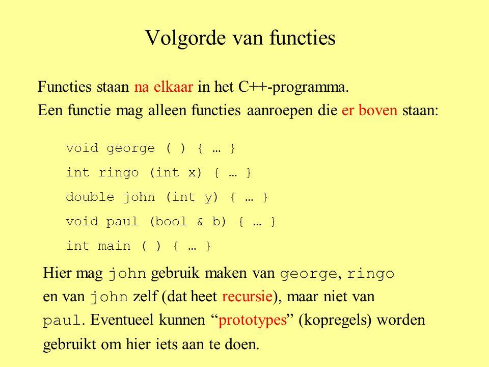 Volgorde van functies Functies staan na elkaar in het C++-programma.