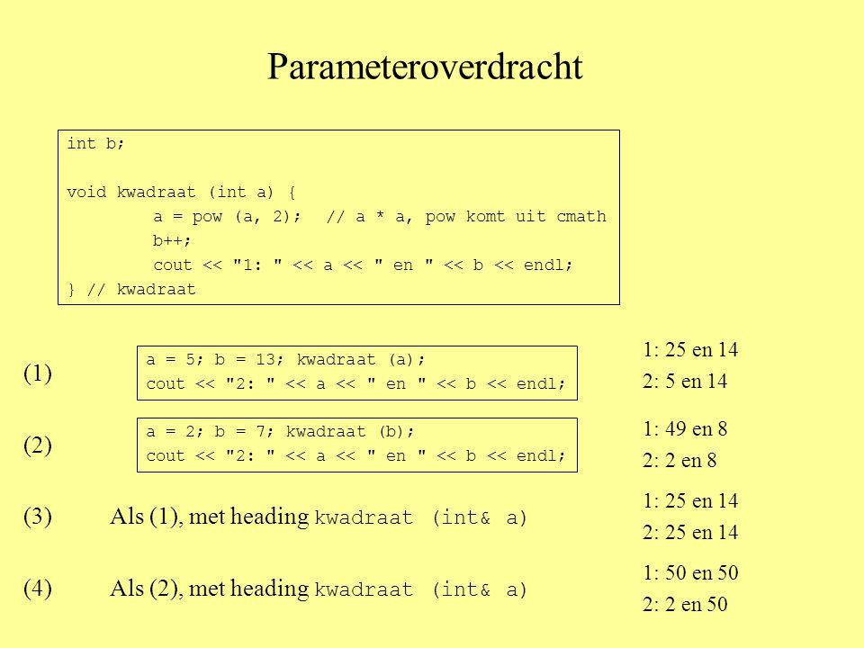 Parameteroverdracht int b; void kwadraat (int a) { a = pow (a, 2);// a * a, pow komt uit cmath b++; cout << 1: << a << en << b << endl; } // kwadraat a = 5; b = 13; kwadraat (a); cout << 2: << a << en << b << endl; (1) a = 2; b = 7; kwadraat (b); cout << 2: << a << en << b << endl; (2) (3)Als (1), met heading kwadraat (int& a) (4)Als (2), met heading kwadraat (int& a) 1: 25 en 14 2: 5 en 14 1: 49 en 8 2: 2 en 8 1: 25 en 14 2: 25 en 14 1: 50 en 50 2: 2 en 50