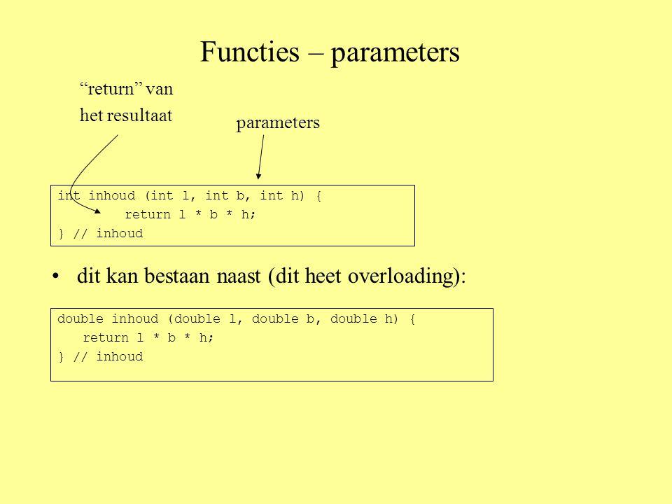 Functies – parameters dit kan bestaan naast (dit heet overloading): int inhoud (int l, int b, int h) { return l * b * h; } // inhoud parameters return van het resultaat double inhoud (double l, double b, double h) { return l * b * h; } // inhoud
