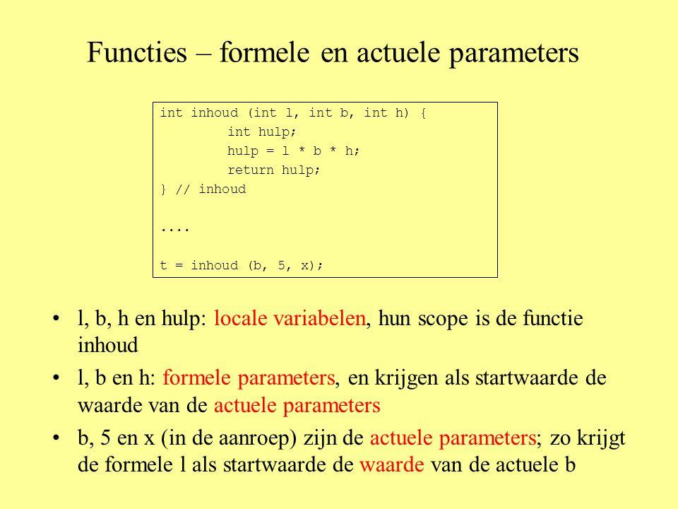 Functies – formele en actuele parameters l, b, h en hulp: locale variabelen, hun scope is de functie inhoud l, b en h: formele parameters, en krijgen als startwaarde de waarde van de actuele parameters b, 5 en x (in de aanroep) zijn de actuele parameters; zo krijgt de formele l als startwaarde de waarde van de actuele b int inhoud (int l, int b, int h) { int hulp; hulp = l * b * h; return hulp; } // inhoud....