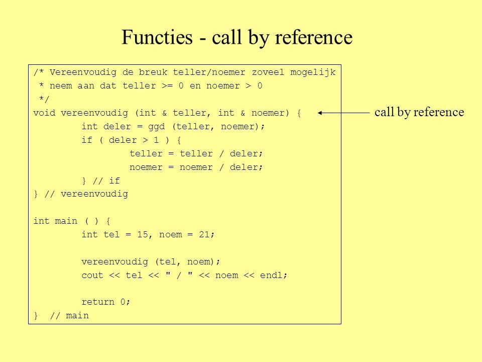 Functies - call by reference /* Vereenvoudig de breuk teller/noemer zoveel mogelijk * neem aan dat teller >= 0 en noemer > 0 */ void vereenvoudig (int & teller, int & noemer) { int deler = ggd (teller, noemer); if ( deler > 1 ) { teller = teller / deler; noemer = noemer / deler; } // if } // vereenvoudig int main ( ) { int tel = 15, noem = 21; vereenvoudig (tel, noem); cout << tel << / << noem << endl; return 0; } // main call by reference