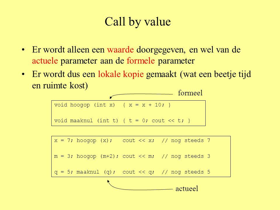 Call by value Er wordt alleen een waarde doorgegeven, en wel van de actuele parameter aan de formele parameter Er wordt dus een lokale kopie gemaakt (wat een beetje tijd en ruimte kost) void hoogop (int x) { x = x + 10; } void maaknul (int t) { t = 0; cout << t; } x = 7; hoogop (x); cout << x; // nog steeds 7 m = 3; hoogop (m+2); cout << m; // nog steeds 3 q = 5; maaknul (q); cout << q; // nog steeds 5 formeel actueel
