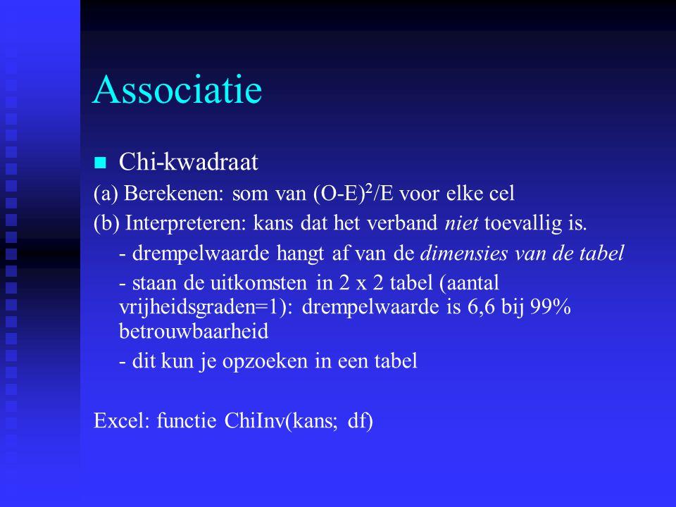 Associatie Chi-kwadraat (a) Berekenen: som van (O-E) 2 /E voor elke cel (b) Interpreteren: kans dat het verband niet toevallig is. - drempelwaarde han