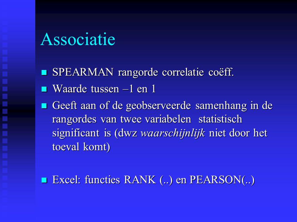 Associatie SPEARMAN rangorde correlatie coëff. SPEARMAN rangorde correlatie coëff. Waarde tussen –1 en 1 Waarde tussen –1 en 1 Geeft aan of de geobser
