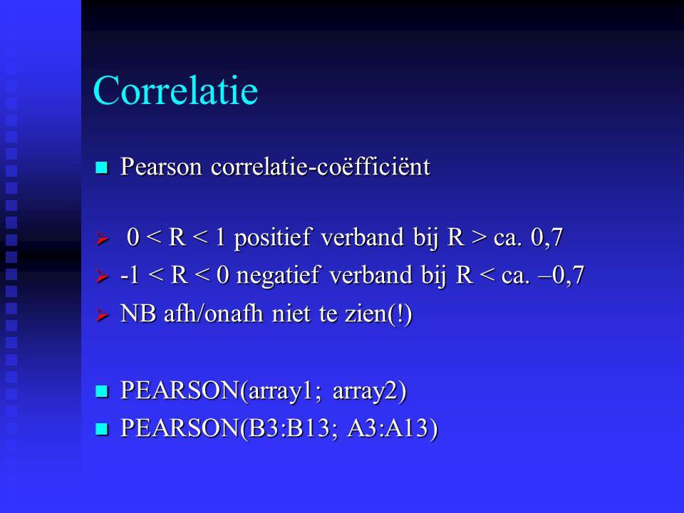 Correlatie Pearson correlatie-coëfficiënt Pearson correlatie-coëfficiënt  0 ca. 0,7  -1 < R < 0 negatief verband bij R < ca. –0,7  NB afh/onafh nie
