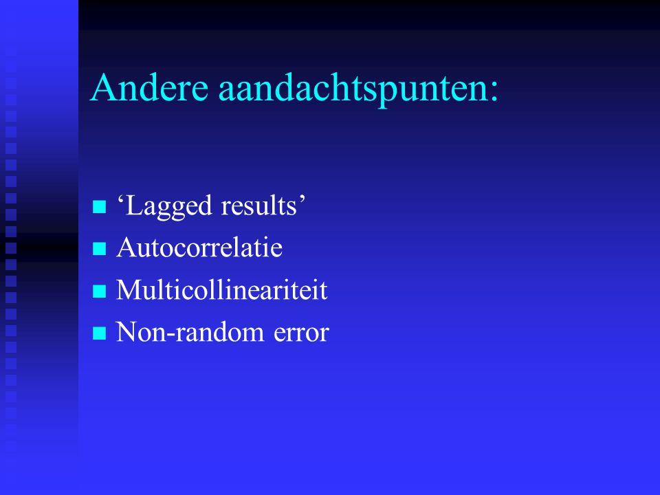 Andere aandachtspunten: 'Lagged results' Autocorrelatie Multicollineariteit Non-random error