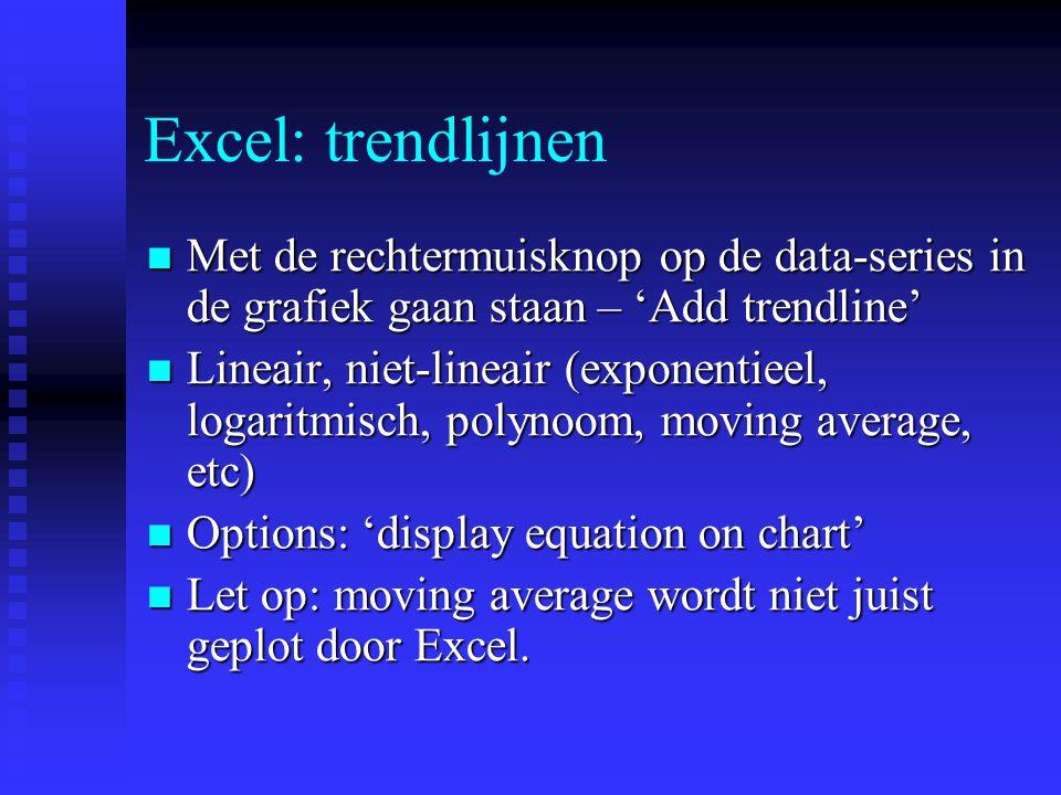 Excel: trendlijnen Met de rechtermuisknop op de data-series in de grafiek gaan staan – 'Add trendline' Met de rechtermuisknop op de data-series in de
