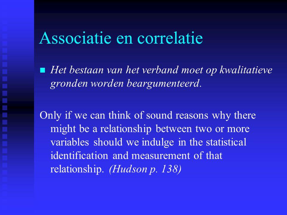 Associatie en correlatie Het bestaan van het verband moet op kwalitatieve gronden worden beargumenteerd. Only if we can think of sound reasons why the