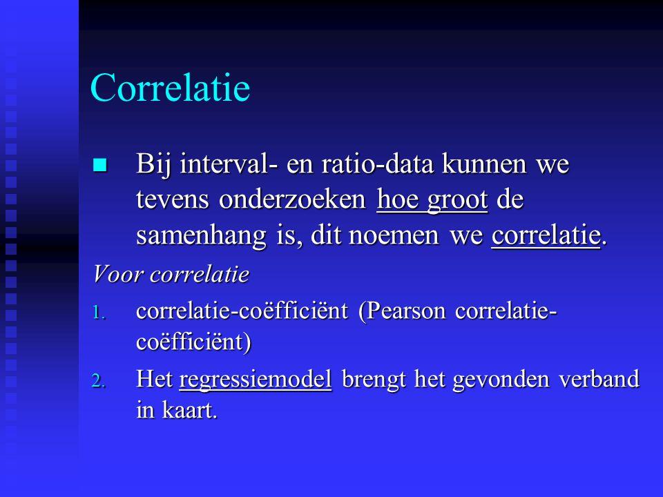 Correlatie Bij interval- en ratio-data kunnen we tevens onderzoeken hoe groot de samenhang is, dit noemen we correlatie. Bij interval- en ratio-data k