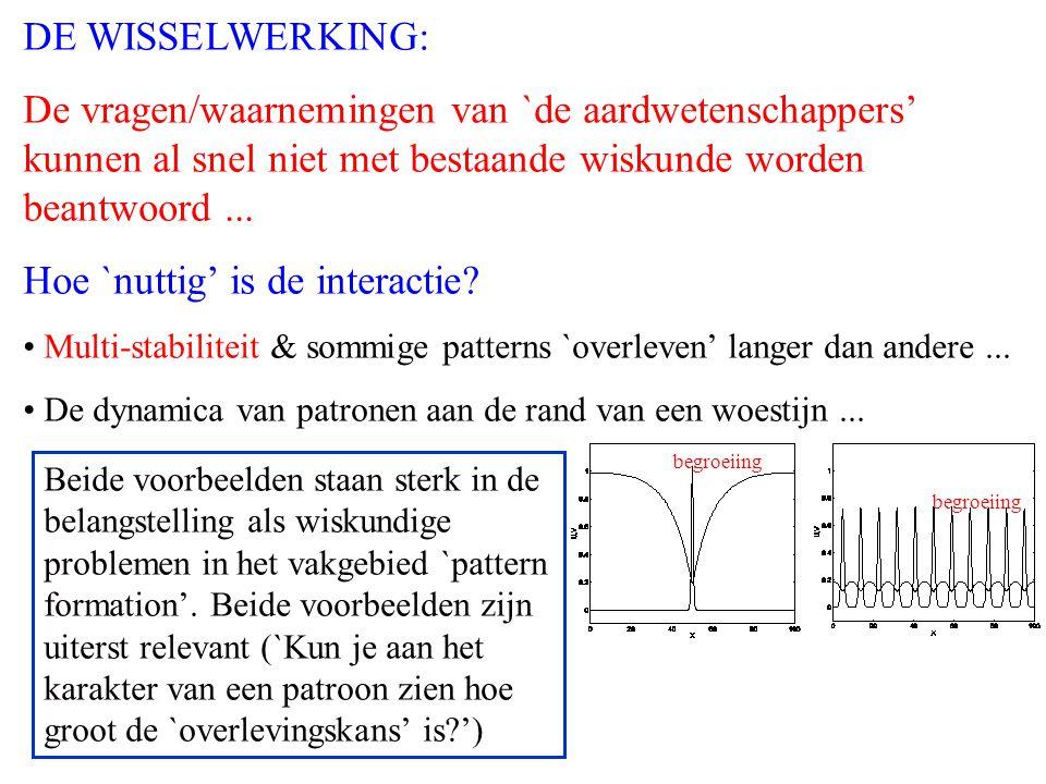 DE WISSELWERKING: De vragen/waarnemingen van `de aardwetenschappers' kunnen al snel niet met bestaande wiskunde worden beantwoord...
