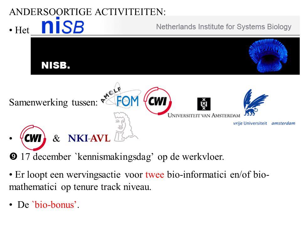 ANDERSOORTIGE ACTIVITEITEN: Het NISB = Netherlands Institute for Systems Biology Samenwerking tussen: &  17 december `kennismakingsdag' op de werkvloer.
