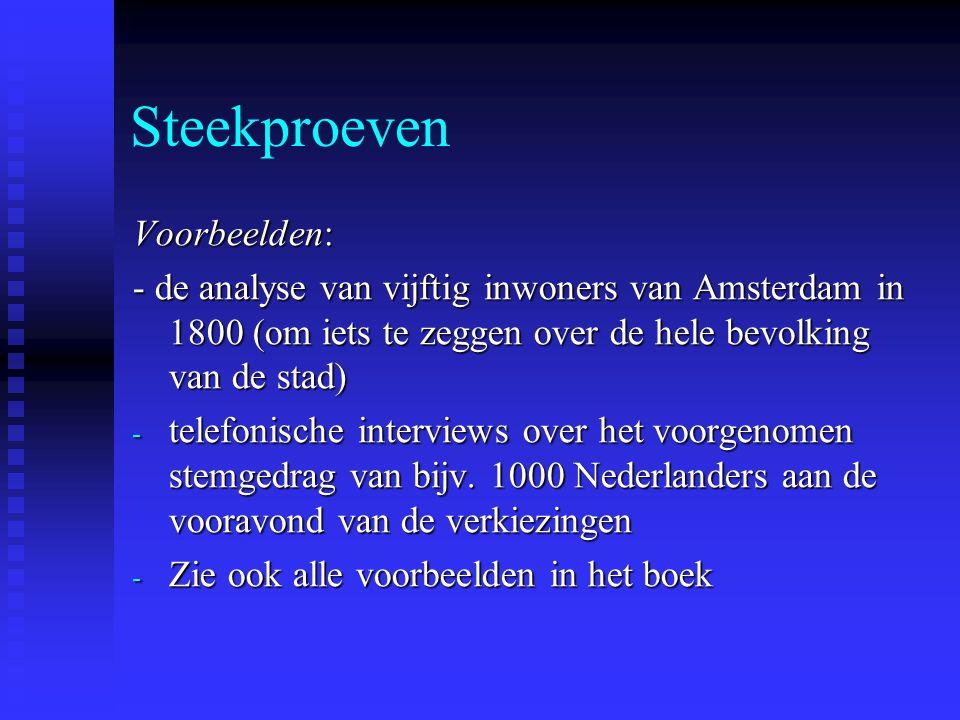 Steekproeven Voorbeelden: - de analyse van vijftig inwoners van Amsterdam in 1800 (om iets te zeggen over de hele bevolking van de stad) - telefonisch