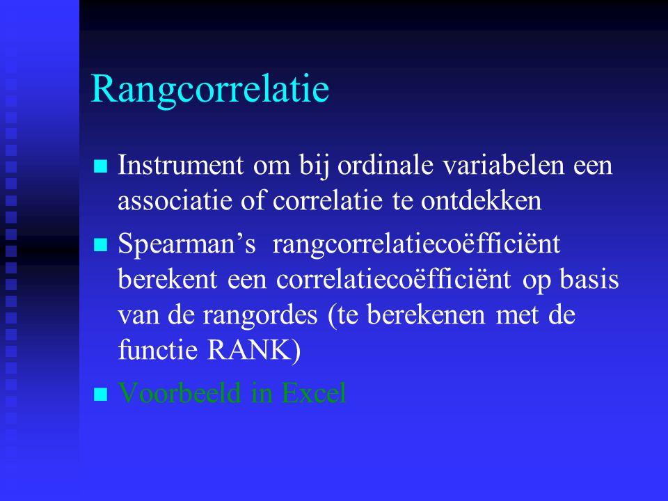 Rangcorrelatie Instrument om bij ordinale variabelen een associatie of correlatie te ontdekken Spearman's rangcorrelatiecoëfficiënt berekent een corre