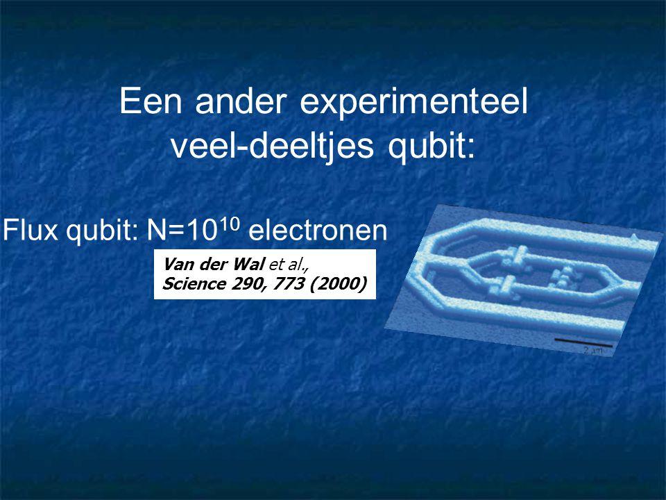 Een ander experimenteel veel-deeltjes qubit: Flux qubit: N=10 10 electronen Van der Wal et al., Science 290, 773 (2000)