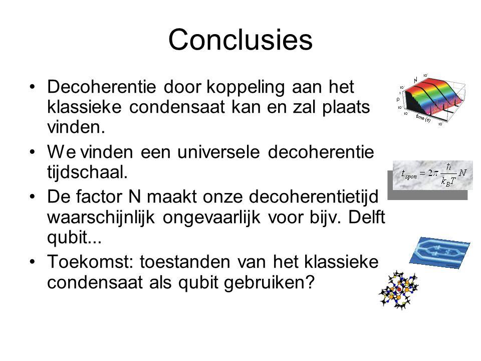 Conclusies Decoherentie door koppeling aan het klassieke condensaat kan en zal plaats vinden.