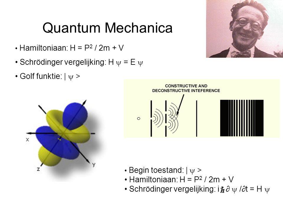 Quantum Mechanica Hamiltoniaan: H = P 2 / 2m + V Schrödinger vergelijking: H  = E  Golf funktie: |  > Begin toestand: |  > Hamiltoniaan: H = P 2 / 2m + V Schrödinger vergelijking: i ∂  /∂t = H 