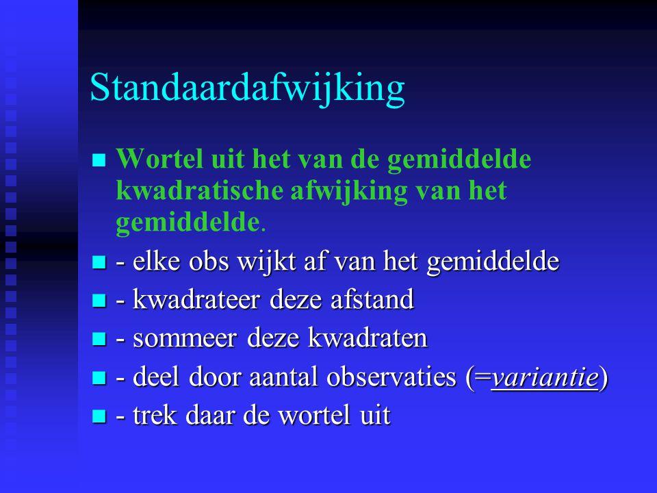 Standaardafwijking Wortel uit het van de gemiddelde kwadratische afwijking van het gemiddelde. - elke obs wijkt af van het gemiddelde - elke obs wijkt
