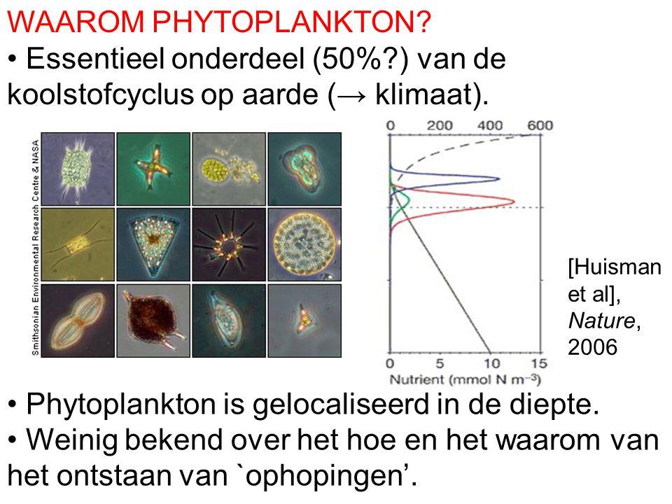 WAAROM PHYTOPLANKTON? Essentieel onderdeel (50%?) van de koolstofcyclus op aarde (→ klimaat). Phytoplankton is gelocaliseerd in de diepte. Weinig beke