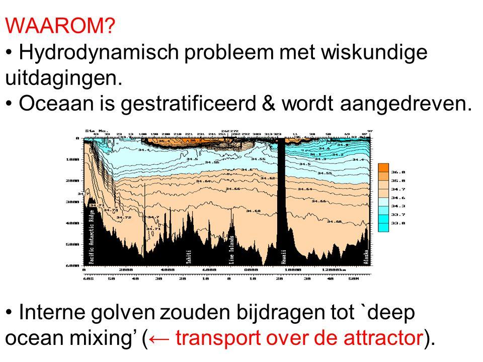 WAAROM? Hydrodynamisch probleem met wiskundige uitdagingen. Oceaan is gestratificeerd & wordt aangedreven. Interne golven zouden bijdragen tot `deep o