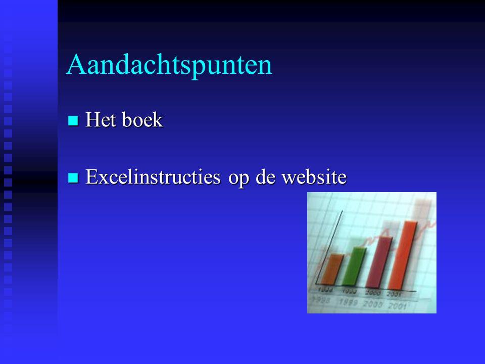 Aandachtspunten Het boek Het boek Excelinstructies op de website Excelinstructies op de website