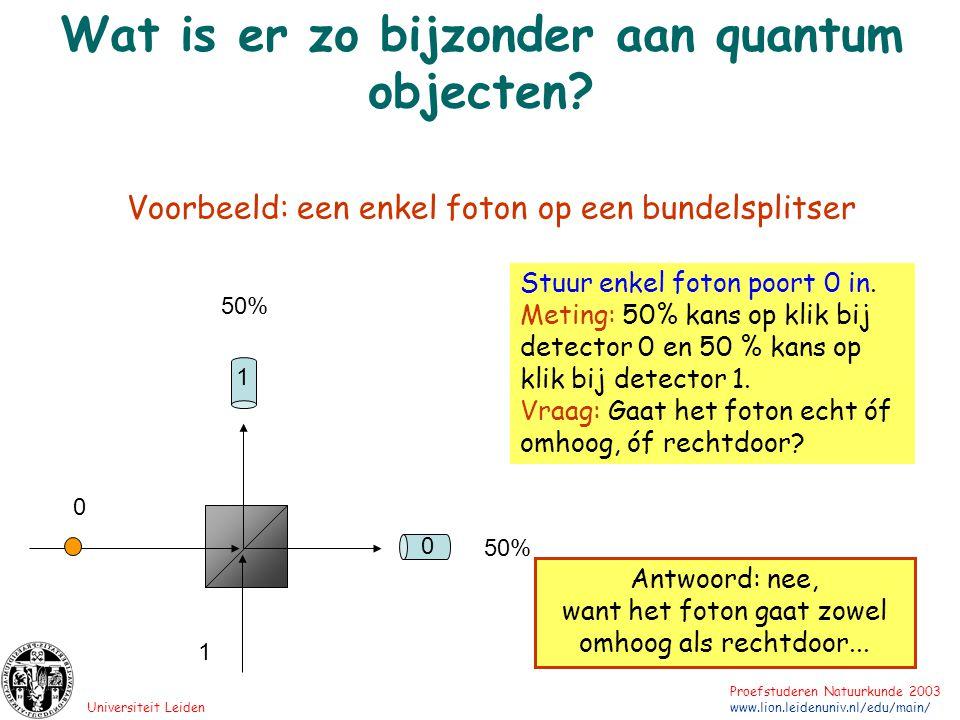 Universiteit Leiden Proefstuderen Natuurkunde 2003 www.lion.leidenuniv.nl/edu/main/ Wat is er zo bijzonder aan quantum objecten? 50% 0 1 0 1 Stuur enk