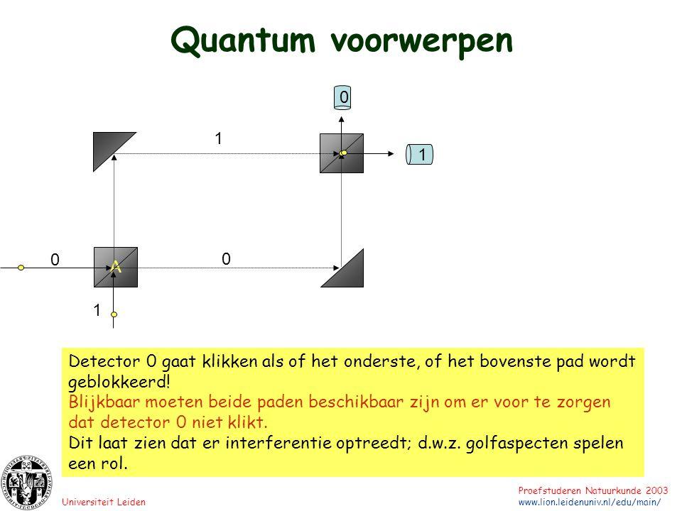 Universiteit Leiden Proefstuderen Natuurkunde 2003 www.lion.leidenuniv.nl/edu/main/ 1 A 1 1 0 0 0 Detector 0 gaat klikken als of het onderste, of het