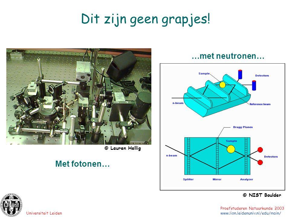 Universiteit Leiden Proefstuderen Natuurkunde 2003 www.lion.leidenuniv.nl/edu/main/ Dit zijn geen grapjes! …met neutronen… © NIST Boulder © Lauren Hel
