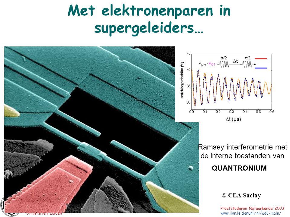 Universiteit Leiden Proefstuderen Natuurkunde 2003 www.lion.leidenuniv.nl/edu/main/ Met elektronenparen in supergeleiders… © CEA Saclay QUANTRONIUM Ra