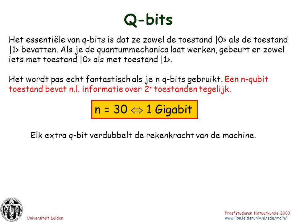 Universiteit Leiden Proefstuderen Natuurkunde 2003 www.lion.leidenuniv.nl/edu/main/ Q-bits Het essentiële van q-bits is dat ze zowel de toestand |0> a