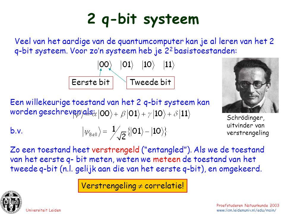 Universiteit Leiden Proefstuderen Natuurkunde 2003 www.lion.leidenuniv.nl/edu/main/ 2 q-bit systeem Veel van het aardige van de quantumcomputer kan je