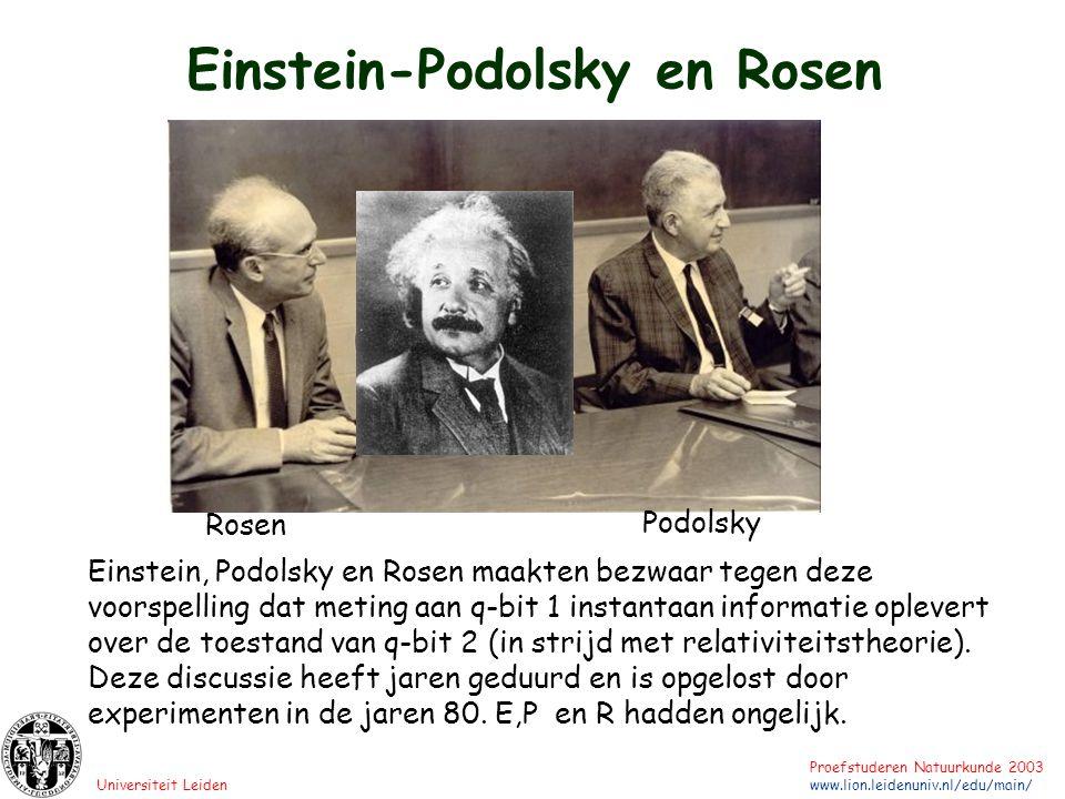 Universiteit Leiden Proefstuderen Natuurkunde 2003 www.lion.leidenuniv.nl/edu/main/ Einstein-Podolsky en Rosen Rosen Podolsky Einstein, Podolsky en Ro